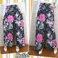 Fashion Muslim Bawahan Celana Kulot Flower Pink Black/Gamis Murah