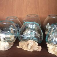pengerajin aquarium kaca tiup akar kayu bali kecil