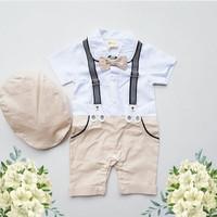 set overall jumper + topi anak import