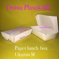 isi 50pcs paper lunch BOX kotak dus makanan nasi KERTAS uk M take away