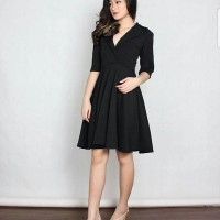 Midi dress Scuba Hitam