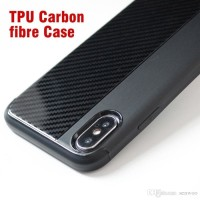 IPHONE X CASING TPU SILICON SOFT CASE RUGGED CARBON LINE BACK COVER