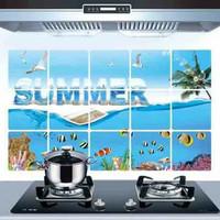Wallsticker wall sticker stiker dapur tahan panas summer ikan laut