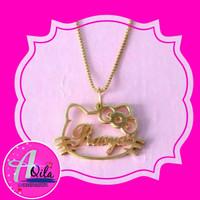 kalung nama motif hello kity bahan perak lapis emas