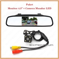 Monitor Mirror TFT Parking Camera - PAKET Kc Spion Mobil & Kamera LED