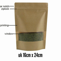 standing pouch kraft window + ziplock 16 x 24