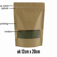 standing pouch kraft window + ziplock 12 x 20