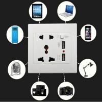 Dual USB Wall Socket Charger AC DC Power Adapter Plug soket tembok