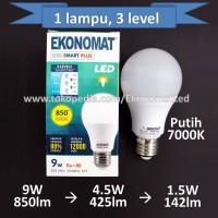 Lampu LED Ekonomat Smart 9W 3 LEVEL Putih Step Dim Dimmer Scene Switch