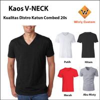 Kaos Polos Vneck V-Neck Combed 20s uk 3XL - 4XL Big Size
