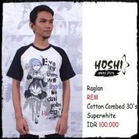 T-Shirt Distro Kaos Raglan Anime REM RE:ZERO