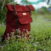 Tas Ransel Rolltop Backpack Kanvas Pria Wanita - Firefly Raven Maroon