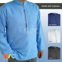 New! Baju Koko Resleting Pria Muslim Dewasa Lengan Panjang Polos Warna