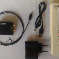 Digital to analog audio converter dan kabel optik dan charger