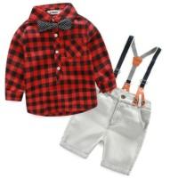 Baju Anak Cowok Import Boy Set Long Sleeve Plaid Short Pants Jeans Bow