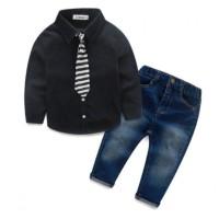 Setelan Baju Anak Cowok Import Casual Korea Boy Set Longsuit Jeans Lon