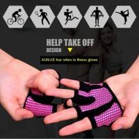1 Pair AOLIKES New Anti-skid Men & Women Gym Gloves Sarung tangan Yoga - Orange, M