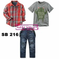 Set Star Baby 4in1 Baju Anak Import Kemeja Tee Suspender Celana Jeans