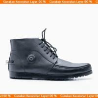 Sepatu Boot Pria Dress Boots Black Formal Kulit Asli Outsol Karet 0332