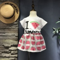 Watermelon Summer Pink - Stelan Rok Anak Perempuan Import