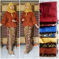 gamis batik terbaru setelan rok dan blus warna coklat GB246