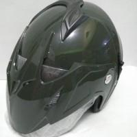 Bagus nyaman Helm Double Visor Standar SNI Half Face Murah Hijau Tni