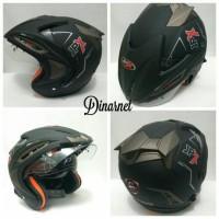 Bagus nyaman Helm Jpx Supreme Double Visor Standar SNI Half Face Black