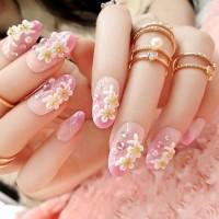 NA043 - Kuku Palsu 3D/ Nail Art / Pink Fake Nails Wedding For Bride