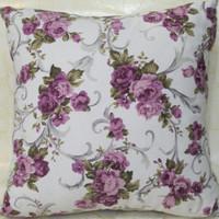 Sarung bantal Sofa Vintage / Shabby Impor Bunga Ungu Putih