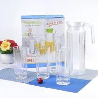 Water Glass Set Garis [4 Glass + 1 Jug] - [CEK DESKRIPSI]
