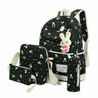 Tas Rabbit backpack wanita set 4 in 1