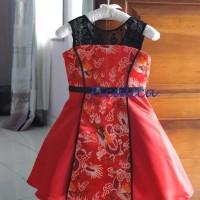 Cutevina - Cheongsam merah motif naga / Red Dress Anak FC17011