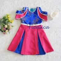 Cutevina - Cheongsam biru fanta motif naga / Blue Hotpink Dress Anak - 4-5 tahun