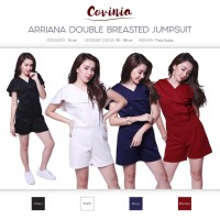 Arriana Double Breasted Jumpsuit Short Layered Vneck Jumps