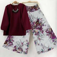 Baju Cewek Korea 2in1 ( Atasan Blouse + Celana Kulot )