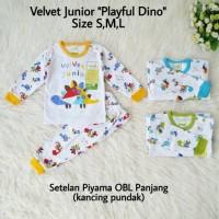 Baju Tidur Anak Bayi Setelan Panjang Piyama Velvet Junior Playful SML
