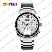 Jam Tangan Pria Analog SKMEI 9096 White Water Resistant 30M Stainless