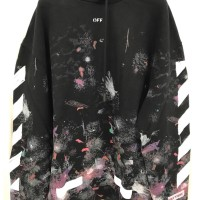 Off White Diag Galaxy Brushd Over Hoodie All Over White 100% Authentic