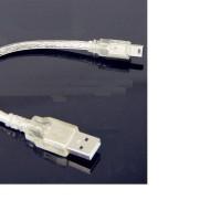 Kabel data USB mini 5 pin transparan putih 20cm untuk arduino Nano