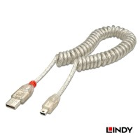 LINDY #31925 USB 2.0 COILED CABLE A TO MINI B TRANSPARENT WHITE, 2m