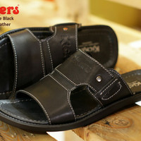 SANDAL CASUAL PRIA KICKERS BRIDGE BLACK KULIT ASLI