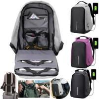 Ransel / Backpack / Tas Anti Maling / Plus Port USB Powerbank - Biru Muda