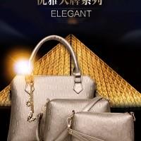 Tas set bag imort elegan stylish gold black blue rice H4711
