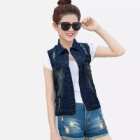 JEHShop Rompi Jacket Jenas Washed Vest Denim - Jasline