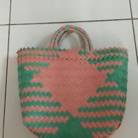 Tas belanja motif anyam warna cantik