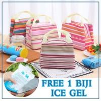 Lunch Bag Cooler Bag Motif Salur/Garis -Tas Bekal Makanan Panas Dingin