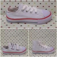 Sepatu All Star Converse Anak/Kids Putih Tali Perekat Tinggi Klasik