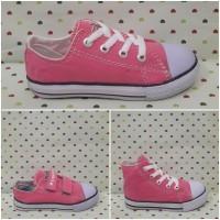 Sepatu All Star Converse Anak/Kids Pink Tali Perekat Tinggi Klasik