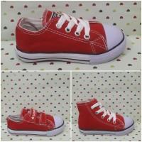 Sepatu All Star Converse Anak/Kids Merah Tali Perekat Tinggi Klasik