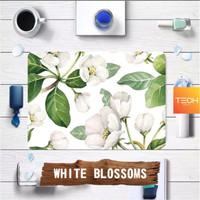 WHITE BLOSSOMS - Premium MacBook Skin Decal Cover Sticker